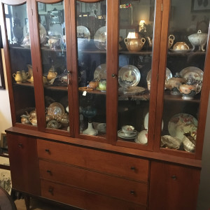 Solid walnut mid-century china hutch