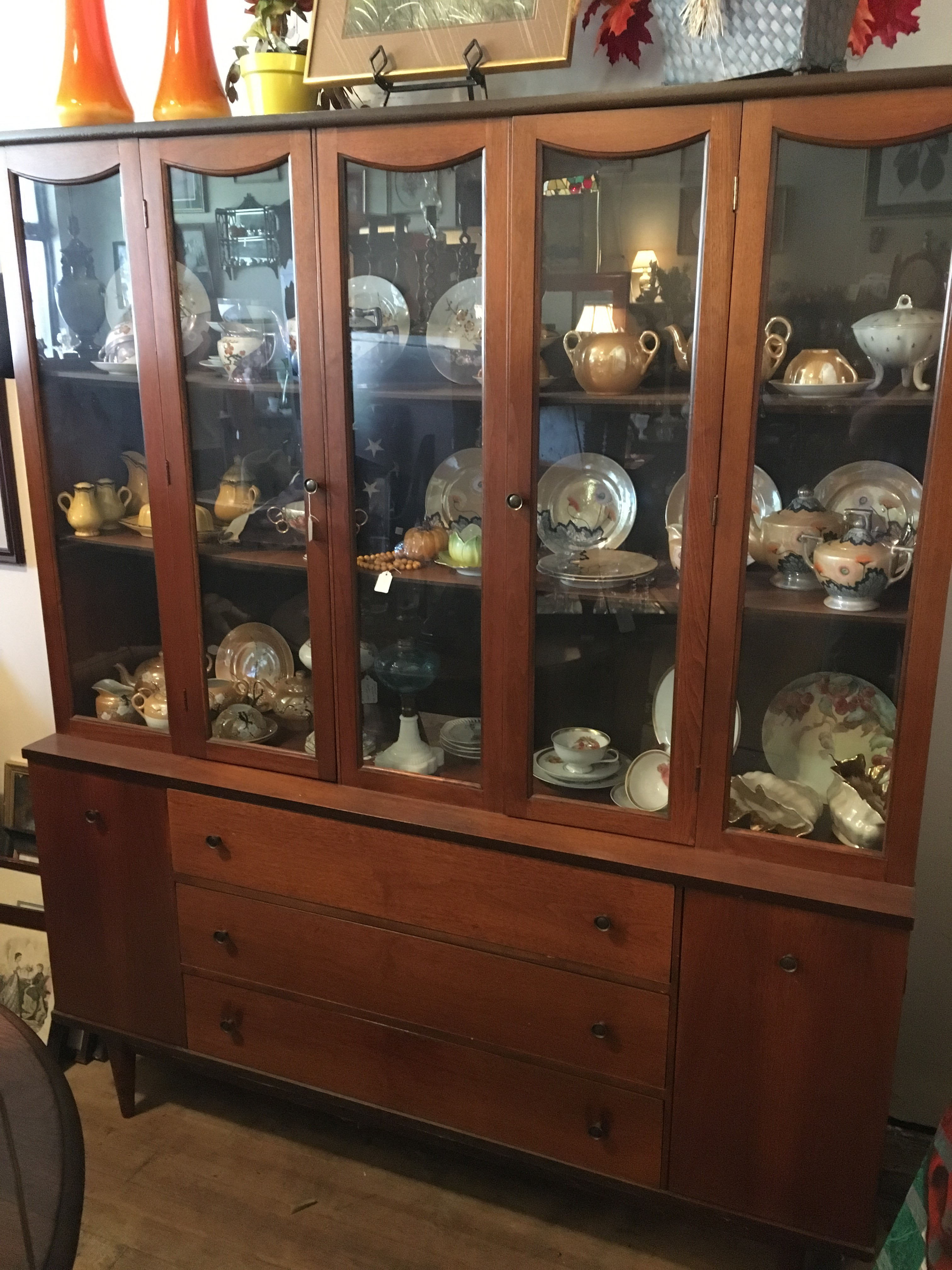or bar leaded sold oak l back cabinet antique stained china