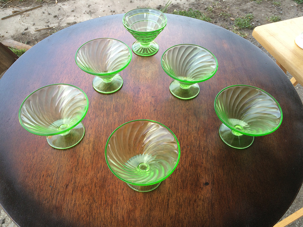 Diana-Green Sherbet Glasses by Federal