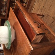 Solid Tiger Oak Wash Stand - Top Drawer Open