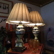 Matching Pair of Decorated Swan Lamps From Side