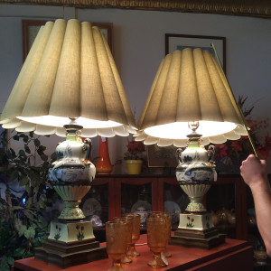 Pair of Decorated Swan Lamps