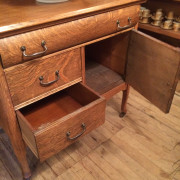 Solid Tiger Oak Wash Stand - Bottom Drawer Open