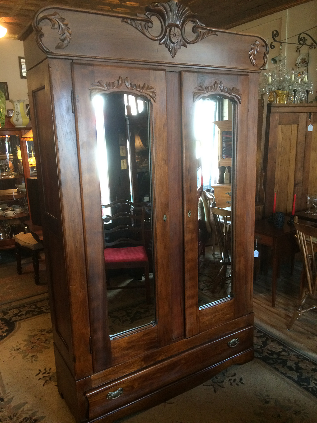 1880 1900 Collapsible Butternut Two Door Wardrobe Sold