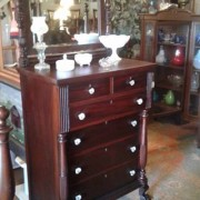 1910 Mahogany Bedroom Suite - highboy dresser